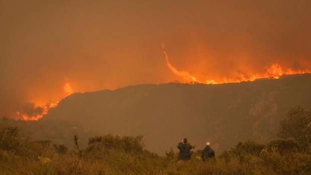 Etwa 350 Feuerwehrleute bekämpfen die Buschbrände an Südafrikas Küste