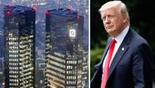 Deutsche Bank Zentrale und Donald Trump in einer Kombo