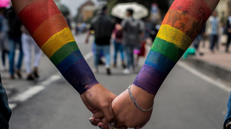 Anhänger der Gay Pride Parade in Bogota, Kolumbien