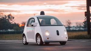 """Ein selbstfahrendes Google-Auto des Typs """"Firefly"""""""