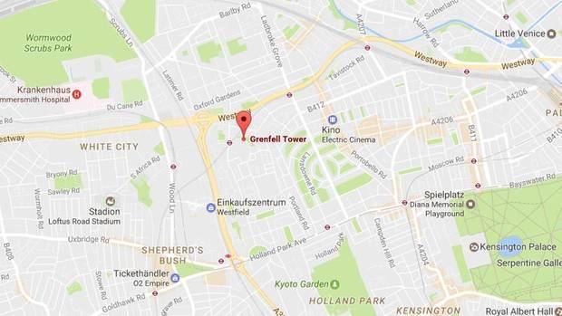 Ein Kartenausschnitt von London yeigt die Lage des brennenden Hochhauses im Stadtteil Kensington