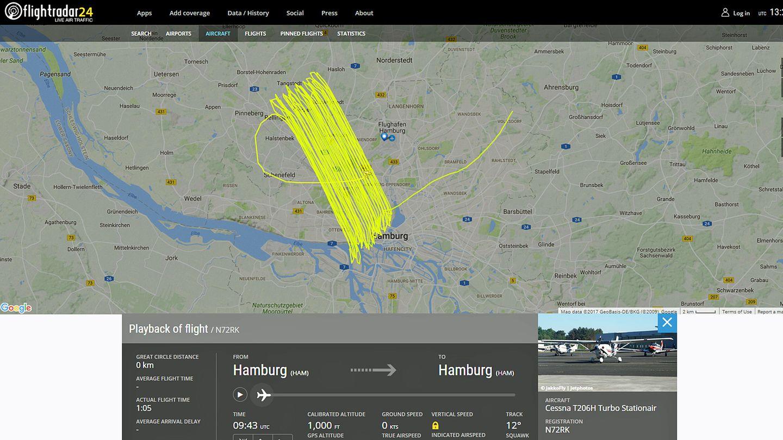 Ein nicht alltägliches Bild auf flightradar24.com: Das schraffierte Feld zeigt den Flug der Cessna am 15. Juni 2017 über einen Teil des Hamburger Stadtgebiets in etwa 300 Metern Höhe.