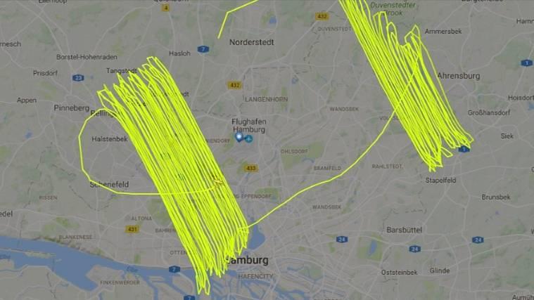 Vor G20-Gipfel in Hamburg: So sah die Route des amerikanischen Propellerflugzeugs über Hamburg aus