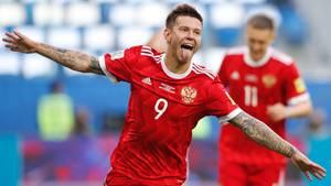 Tor schießen und abdrehen zum Jubeln: Fedor Smolov feiert sein 2:0 gegen Neuseeland