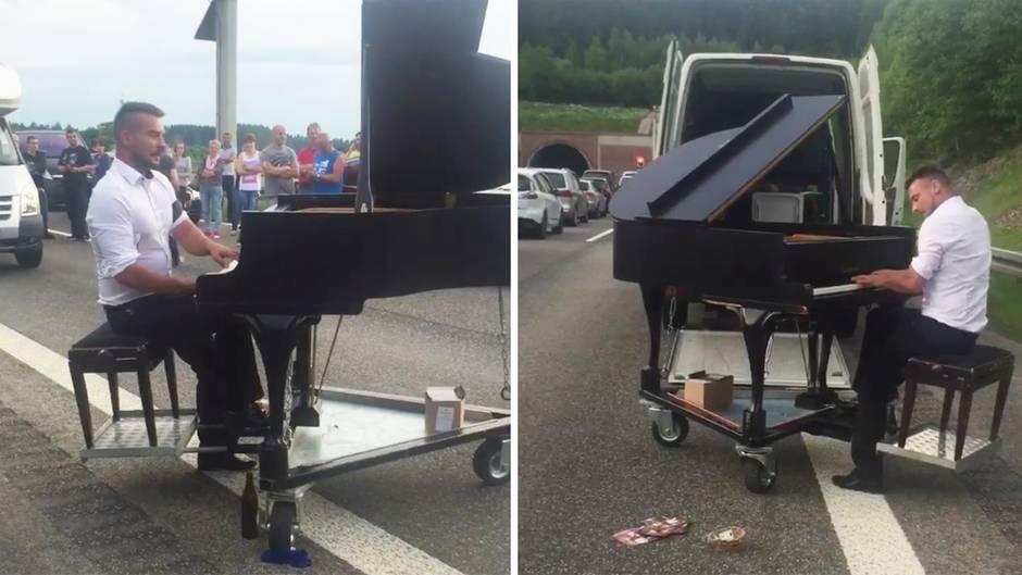 Stau auf der A71: Christian Pommnitz gibt Klavierkonzert auf Autobahn