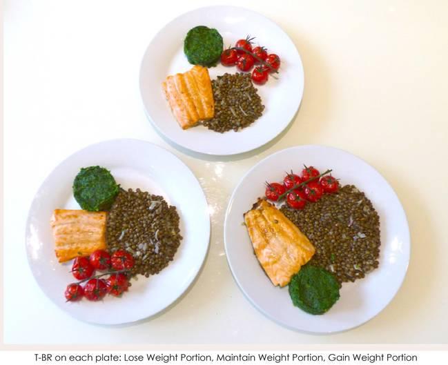 Lachs, Tomaten und Linsen. Wer abnehmen möchte, sollte oben zugreifen, wer sein Gewicht halten möchte, schnappt sich den linken Teller und wer zunehmen sollte, isst das rechte Gericht.