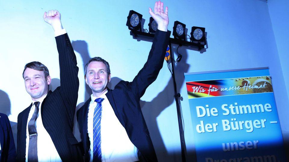 AfD: Sachsen-Anhalt-Spitzenkandidat Andre Poggenburg und Björn Höcke