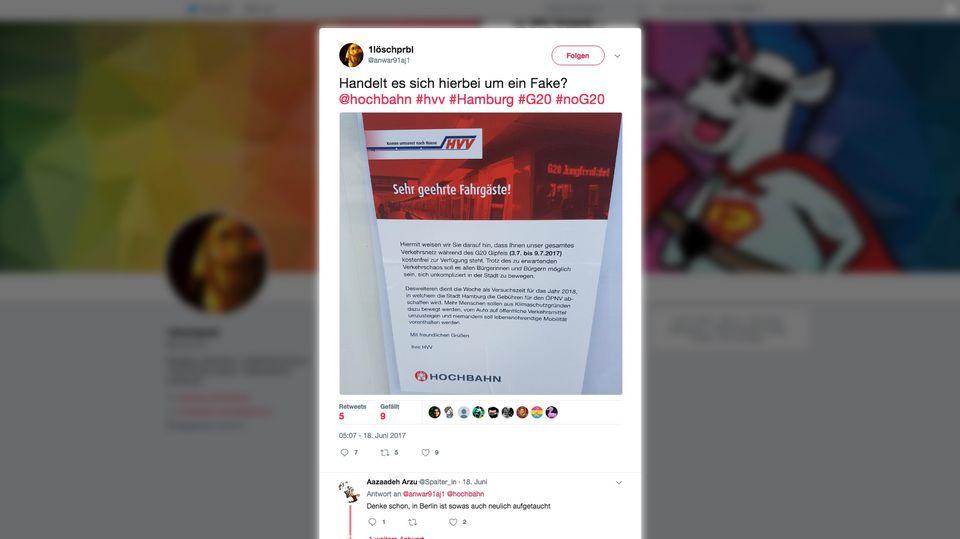 Ein Tweet zeigt das gefälschte HVV-Plakat
