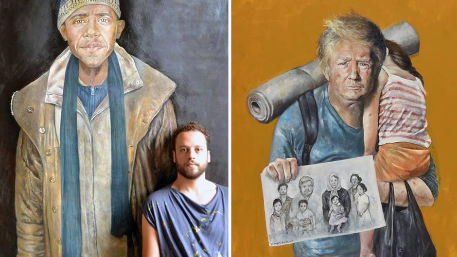 Weltflüchtlingstag: Syrischer Künstler zeigt Trump, Merkel und Co. als Flüchtlinge