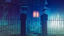 Ein Geisterhaus bei Nacht