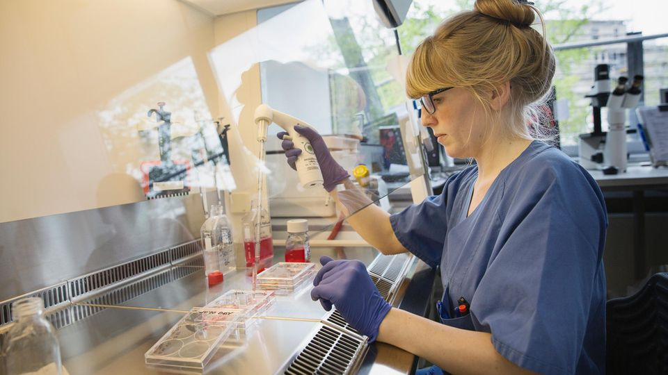 Im Labor des Instituts für Virologie untersucht eine Mitarbeiterin Proben von Patienten auf Erreger