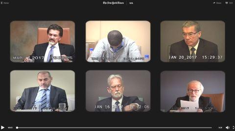 """Screenshot aus """"New York Times""""-Reportage über Videoaufnahmen der Aussagen von John Bruce Jessen und James Mitchell vor Gericht"""