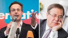 Marcus Pretzell (l.) und viele seiner AfD-Abgeordneten wollen nach stern-Informationen für Armin Laschet (CDU) stimmen