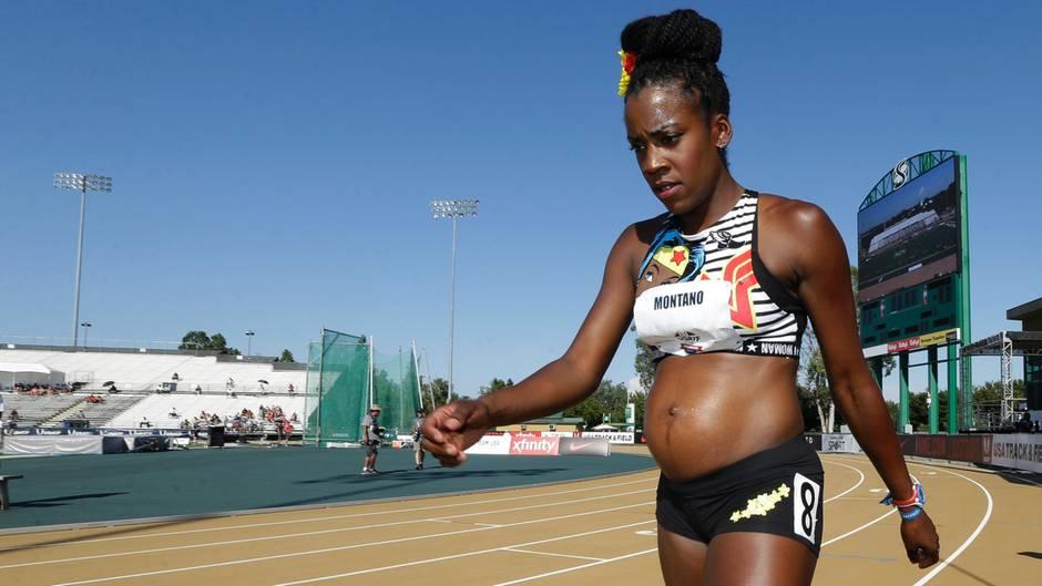 Die Läuferin Alysia Montano will auch im fünften Monat nicht auf Wettkampf verzichten
