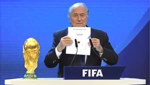 Joseph Blatter im Dezember 2010 bei der Verkündung von Katar als Austragungsland für die Fußball-WM 2022