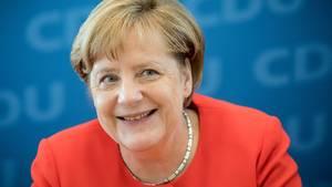 Angela Merkel gut gelaunt