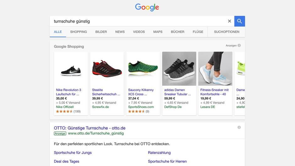 Die Google-Shopping-Suche (Screenshot)