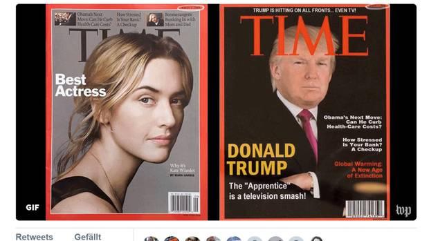 """Die """"Washington Post"""" zeigte bei Twitter das Original-Cover des """"Time-Magazine"""" (l.) und die Donald-Trump-Fälschung (r.)"""