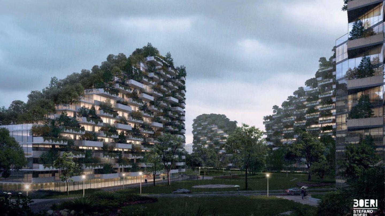 Die Pflanzen erheben sich in die Höhe - in China werden sie aber nur auf horizontalen Sockeln angepflanzt und nicht in die Wandverkleidung integriert.
