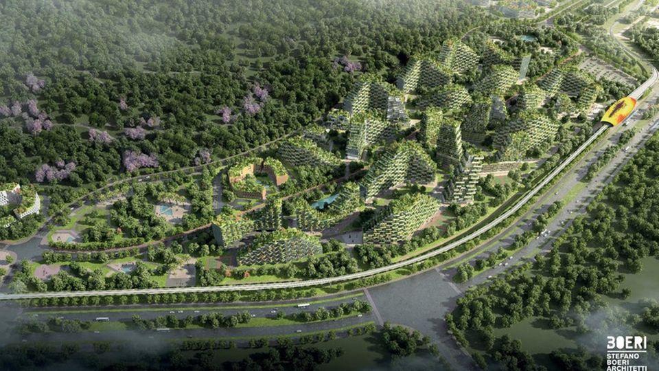 Die Ökö-Hochhäuser passen sich in die Hügel der Umgebung ein.