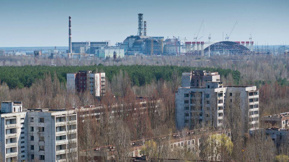 Der Reaktor in Tschernobyl vor der zerstörten Stadt Prypjat.