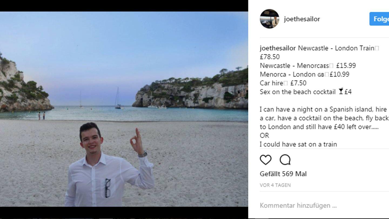 Auf seinem Instagram-Account postete Joe ein Foto von der Reise