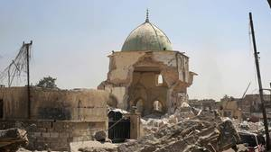 Die zerstörte Al-Nuri-Moschee in Mossul