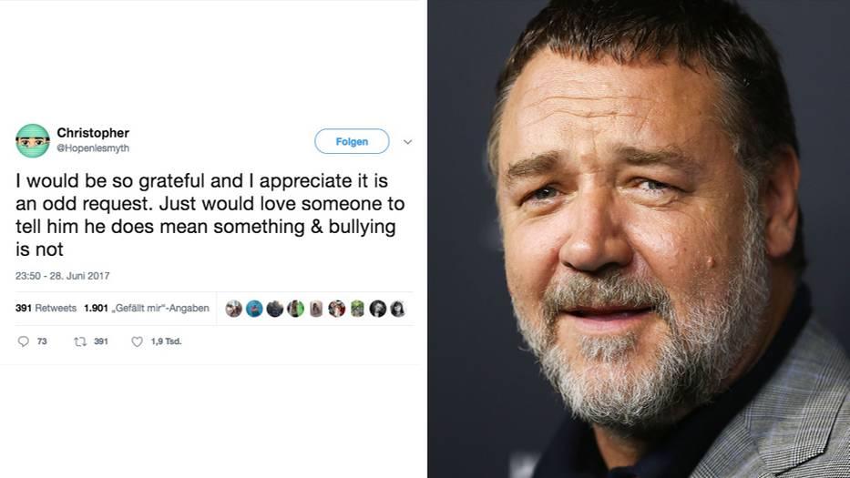 Der Twitter-Aufruf eines Vaters rief neben Russell Crowe noch weitere Promis auf den Plan