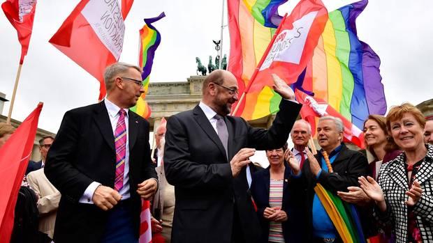 SPD-Chef Martin Schulz vor dem Brandenburger Tor