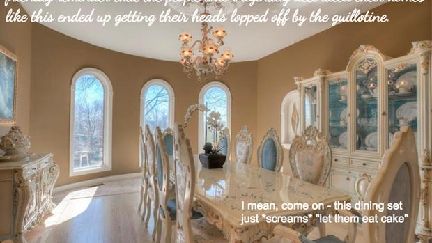 """Zum """"Royal Dining Room"""" schreibt sie: Vergesst nicht, dass alle, die sich im Original so eingerichtet haben, auf der Guillotine endeten."""