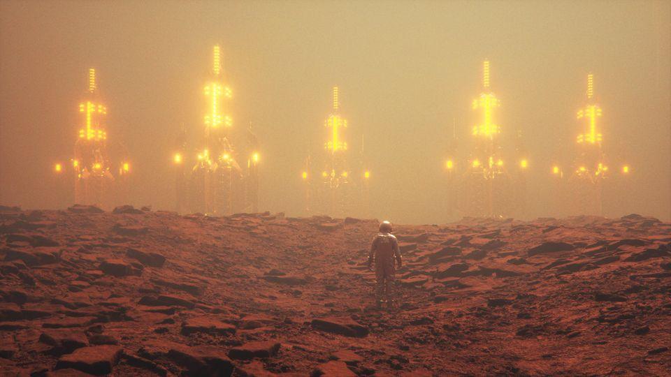 Eine Kolonie auf dem Mars im Sandsturm, davor eine Person im Raumanzug