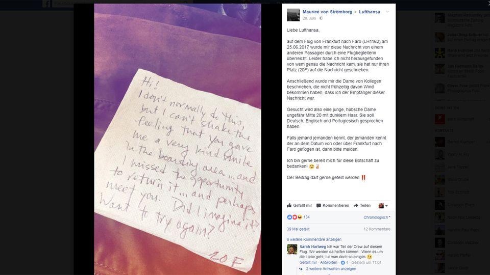Lufthansa soll helfen: Mauricé von Strömborg sucht die Schreiberin dieses Liebesbriefes. Via Facebook sucht er jetzt Menschen, die bei der Suche helfen können-