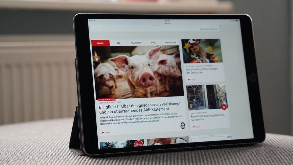 Der Browser des iPad Pro. Dank ProMotion-Technik scrollt man ohne störende Ruckler durch lange Webseiten
