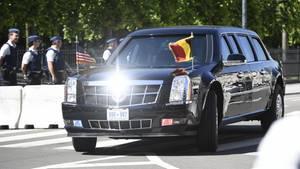 """Das aktuelle Modell von """"The Beast"""" war bereits in Brüssel. Alle Fahrzeuge werden von Militärflugzeugen transportiert."""