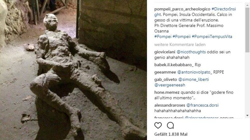 Das Bild von dem Pompeji-Opfer wurde auf dem Instagram-Account der Pompeji-Ausgrabungsstätte veröffentlicht