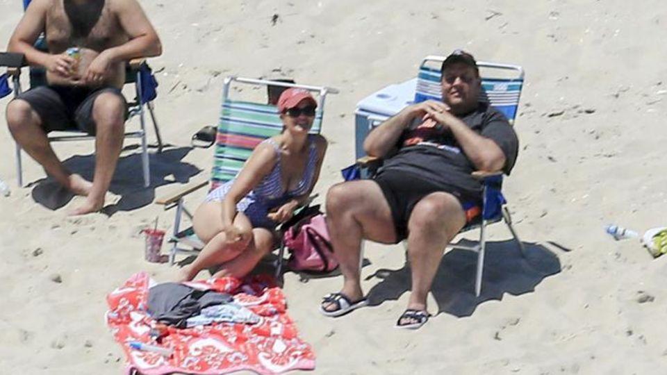 US-Gouverneur Chris Christie mit seiner Familie am gesperrten Strand