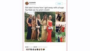 Eine Schülerin aus Großbritannien hat einen Flachmann als vermeintliche Clutch zur Abschlussfeier geschmuggelt