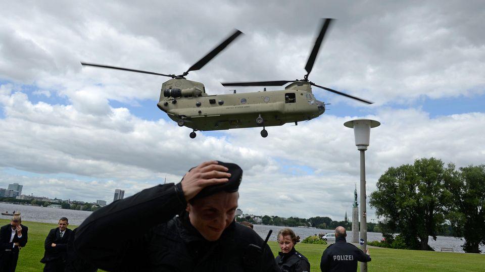 US-Hubschrauber proben vor G20 in Hamburg eine Evakuierungsmission an der Alster