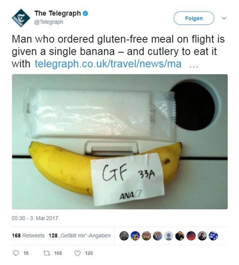 Glutenfreies Frühstück gefällig? Die japanische Airline All Nippon versteht darunter: Banane mit Messer, Gabel und Salz.