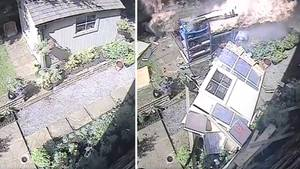 Polizei West Yorkshire zeigt Explosion einer Gartenlaube: Gefährliche Benzinlagerung