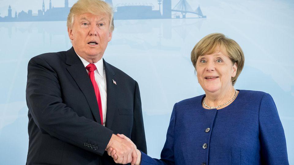 """Donald Trump und Angela Merkel beim Treffen im """"Atlantic""""-Hotel in Hamburg"""