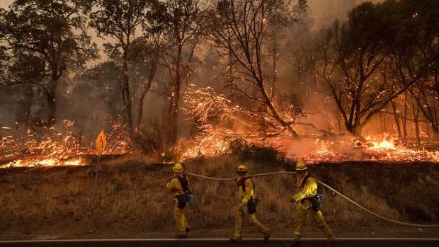 Feuerwehrmänner nahe Oroville in Kalifornien versuchen den Flächenbrand einzudämmen