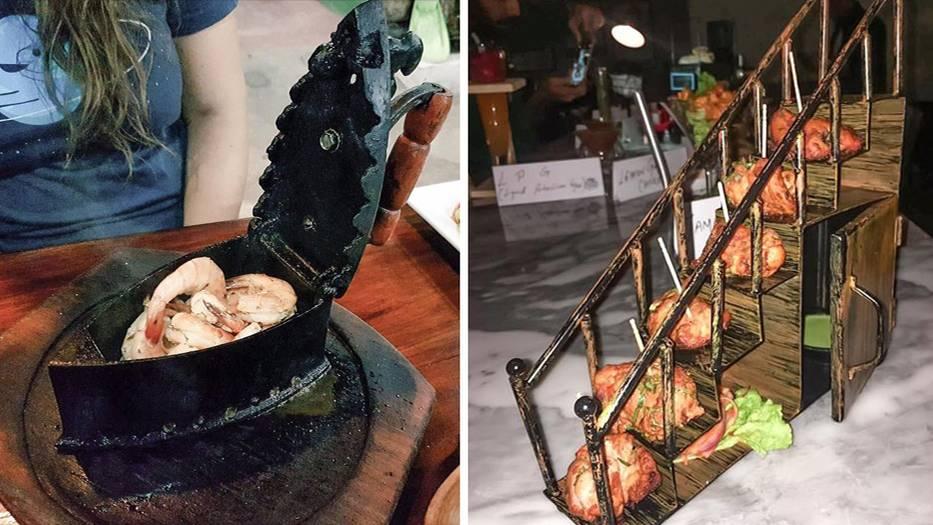 """Essen aus einem Bügeleisen, oder Chicken Wings von einer Treppe? Die Kreativität kennt keine Grenzen. Ganz zum Leid der Gastro-Bewegung """"We want plates""""."""