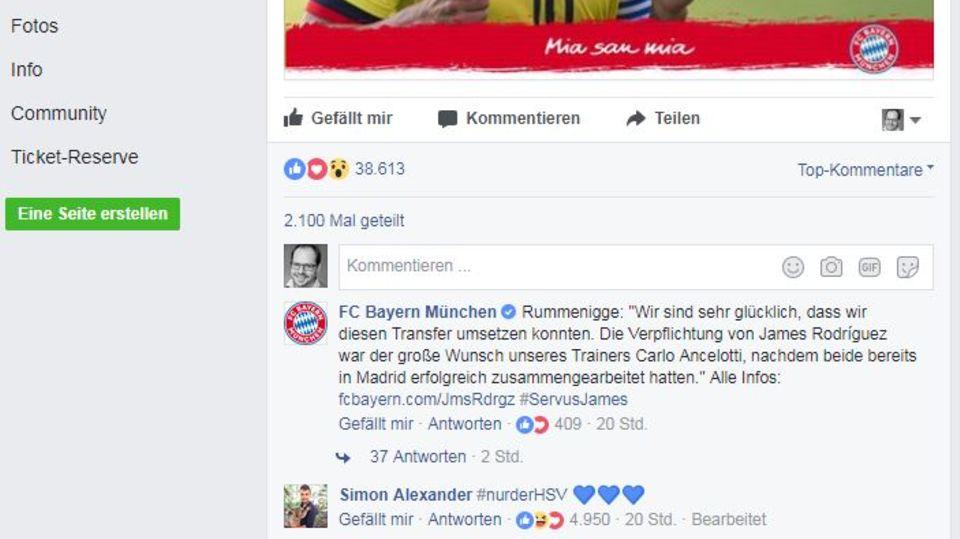 Bundesliga: Bei James-Transfer: HSV-Fan trollt die Bayern auf Facebook