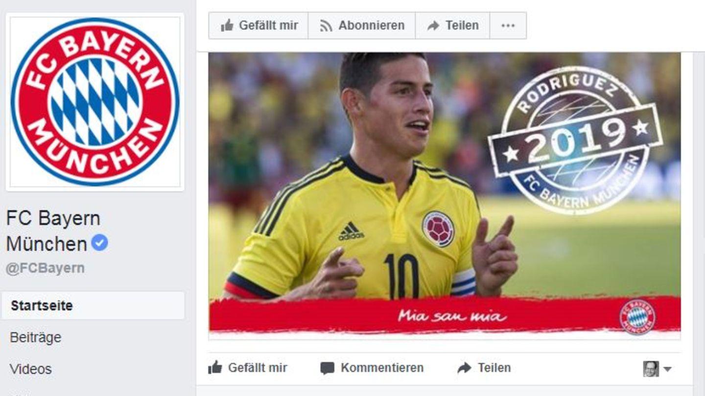 Ein Scrrenshot zeigt die Facebook-Seite des FC Bayern München mit der Verkündung des Transfers von James Rodríguez