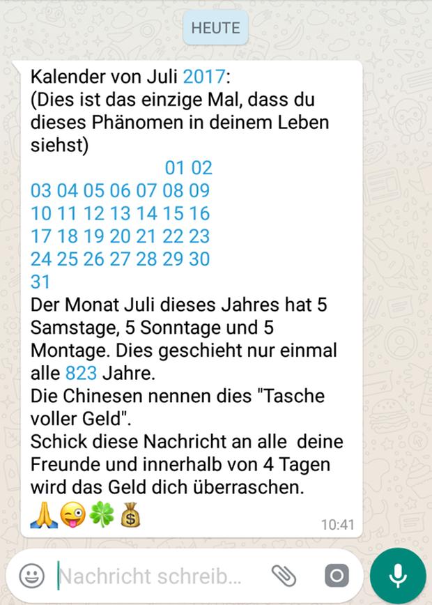 Kettenbrief auf Whatsapp