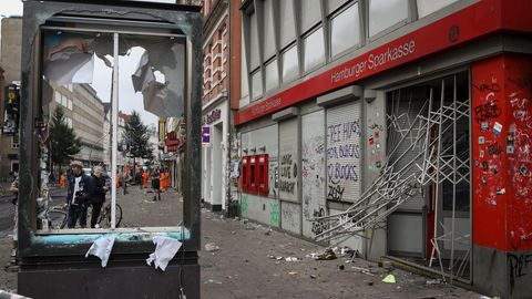Verwüstungen im Hamburger Schanzenviertel während des G20-Gipfels