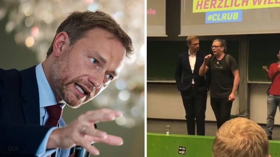 Uni-Auftritt: Studenten brüllen Christian Lindner an - FDP-Chef kontert schlagfertig