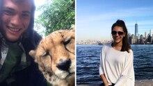 Zwei Bilder von Josh und Michell, die drei Jahre bei Tinder gechattet haben