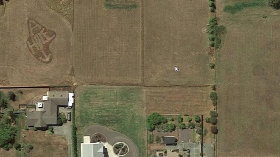 In dem Google Earth Screenshot lässt sich eine Nachricht erkennen